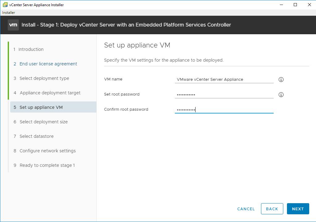 vCentre задаем пароль от root и имя инсталяции