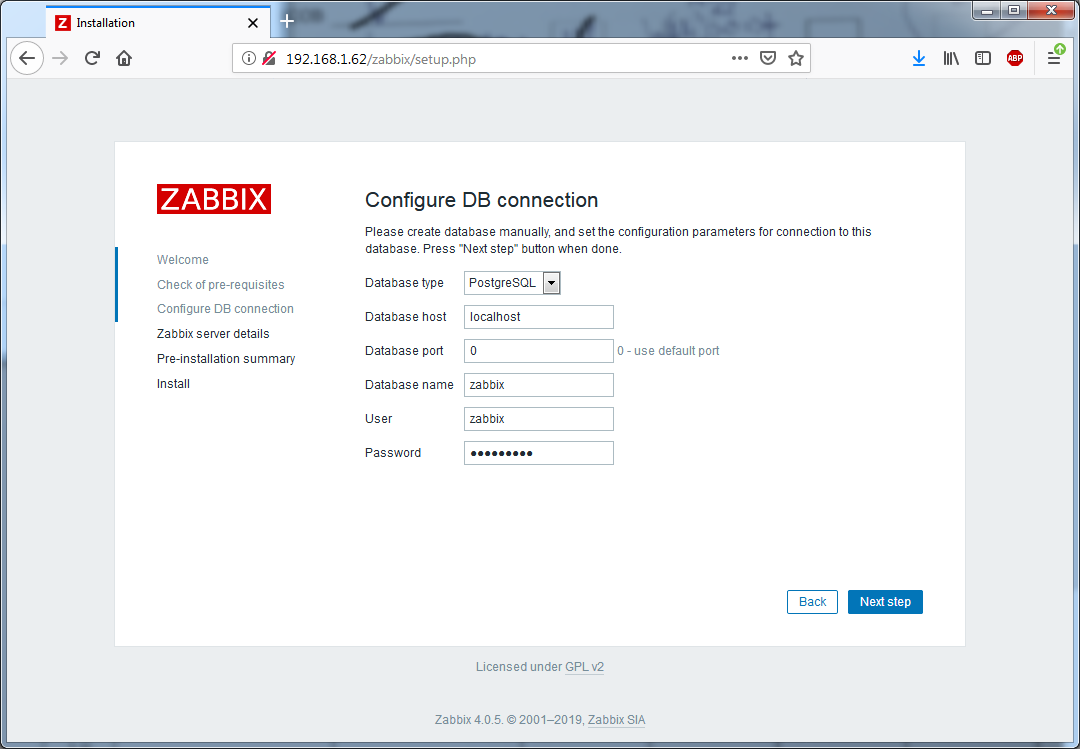 Установка Zappix 4.0 - Configure DB connection