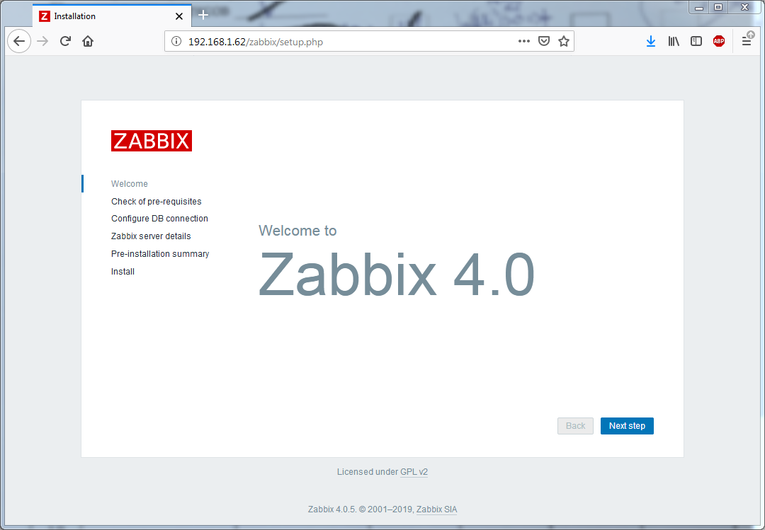 Установка Zappix 4.0 - Welcome to Zabbix