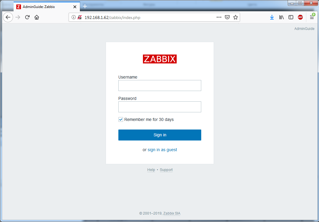 Установка Zappix 4.0 - Zabbix login screen