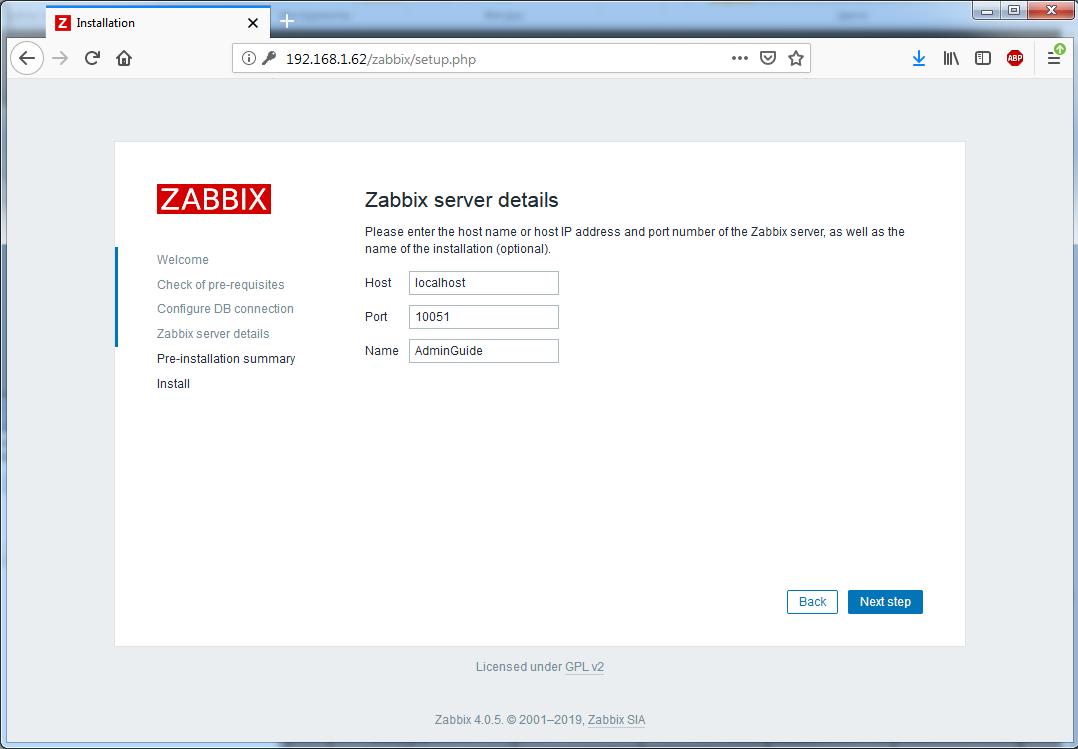 Установка Zappix 4.0 - Zabbix server details