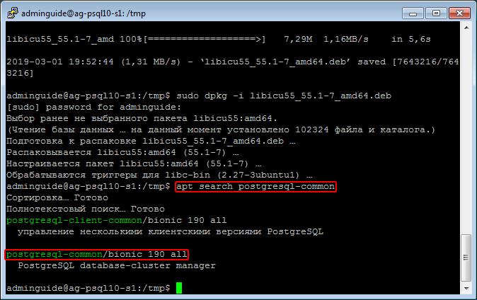 Результат apt search postgresql-common