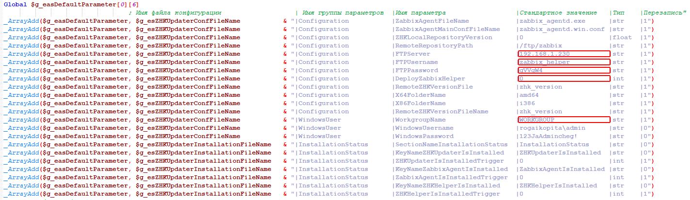 Установка Zabbix Agent - Параметры Zabbix Helper Updater v0.4