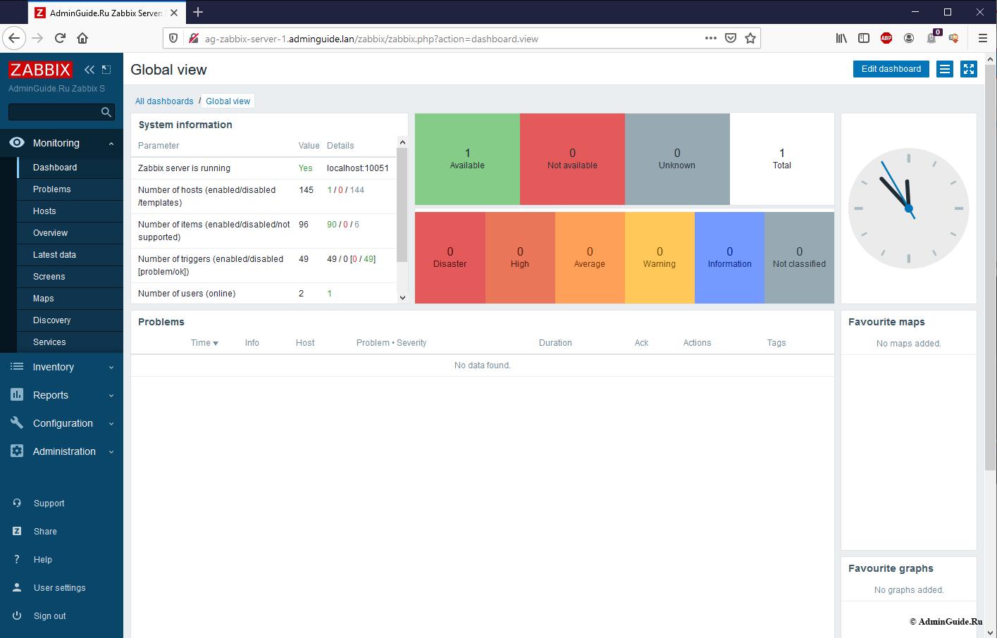 Установка Zabbix 5.0 из репозитория на Ubuntu 20.04 - Главный экран