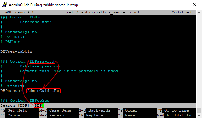 Установка Zabbix 5.0 из репозитория на Ubuntu 20.04 - Пароль для доступа к БД