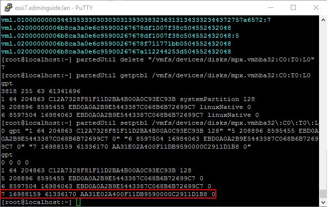ESXi 7. USB флешка как datastore рядом с гипервизором - partedUtil setptbl - результат