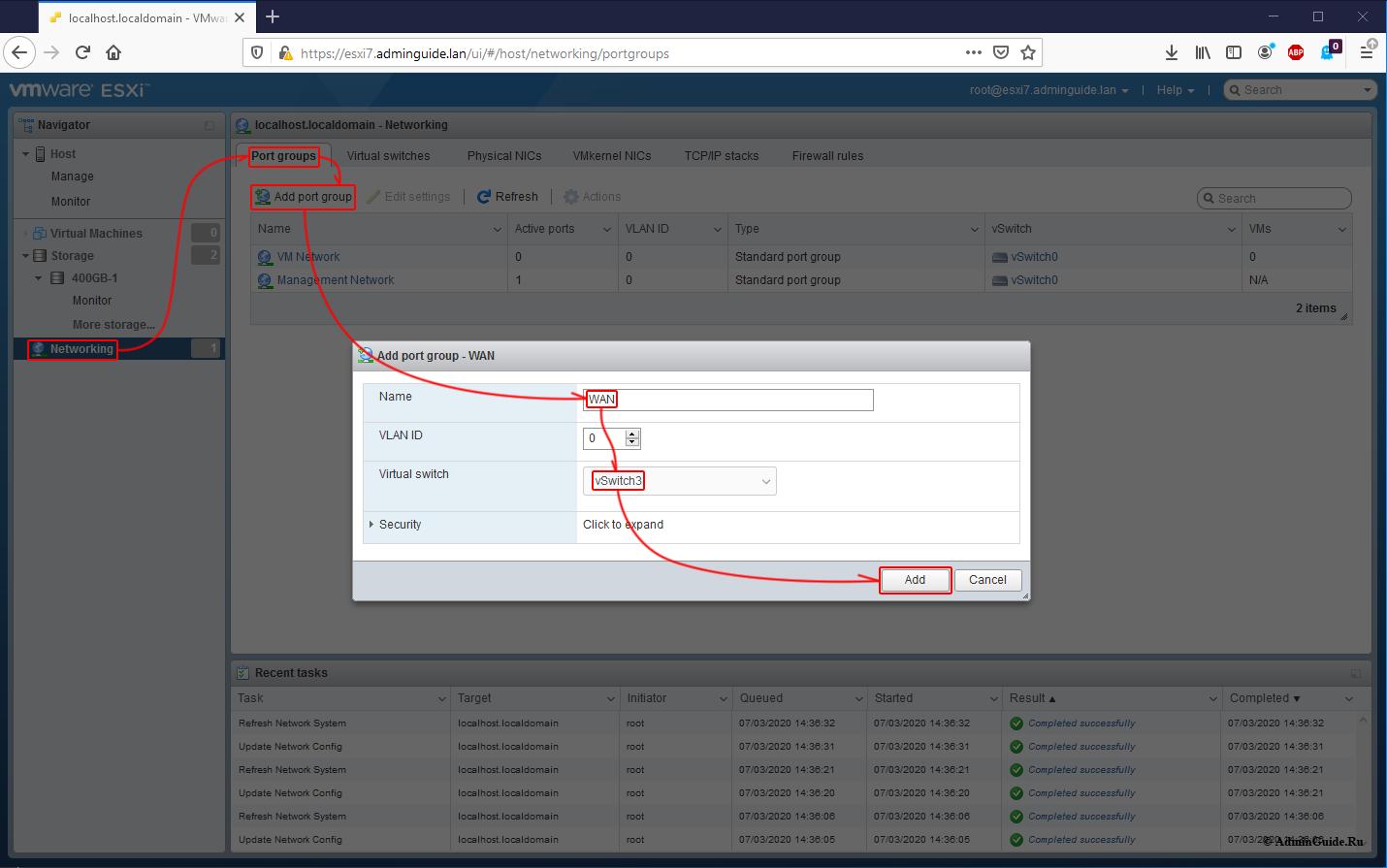 Установка Untangle Firewall и первичная настройка на ESXi 7 - Добавление Port Group - WAN