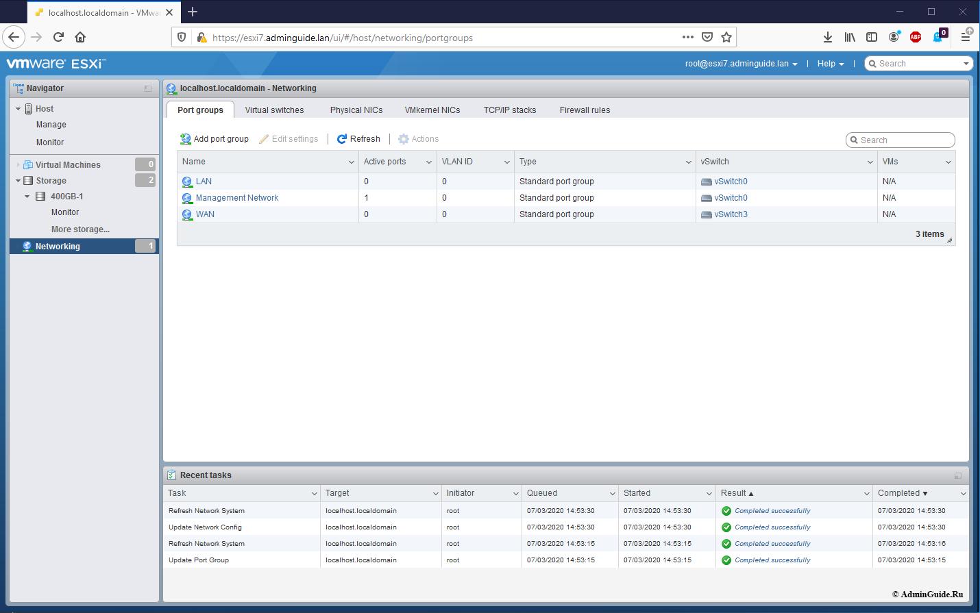 Установка Untangle Firewall и первичная настройка на ESXi 7 - Результат настройки групп портов ESXi