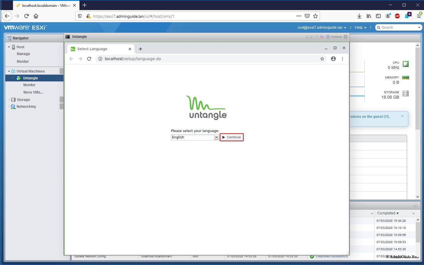 Установка Untangle Firewall и первичная настройка на ESXi 7 - Приступаем к первичной настройке Untangle NG Firewall
