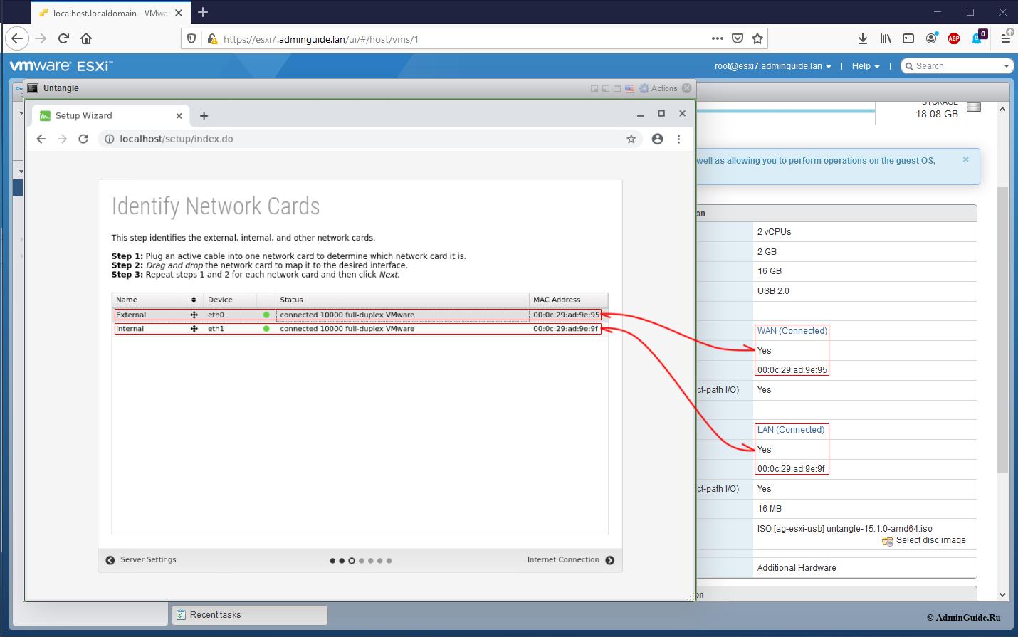 Установка Untangle Firewall и первичная настройка на ESXi 7 - Проверяем соответствие интерфейсов и групп портов