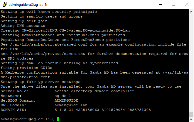 Set up Samba4 for Linux AD-DC on Ubuntu 18.04 - Part 1 - Domain Initialization Result