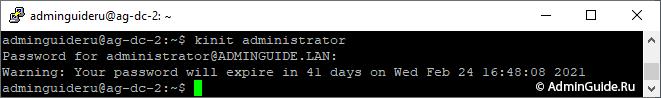 DNS Сервер резервного контроллера домена Linux - kinit administrator