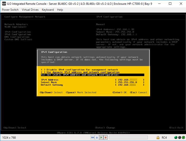 Настройка статического IP через консоль ESXi