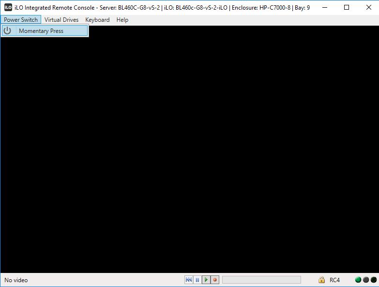 Включение сервера через iLO