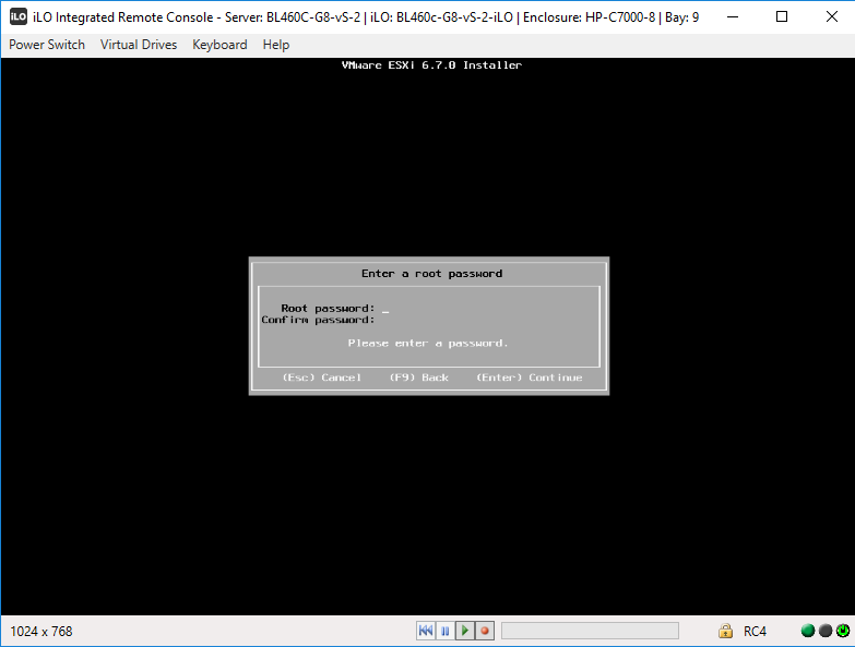 Установка пароля ESXi в момент инсталяции