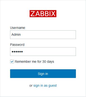 Логин в веб-интерфейс Zabbix