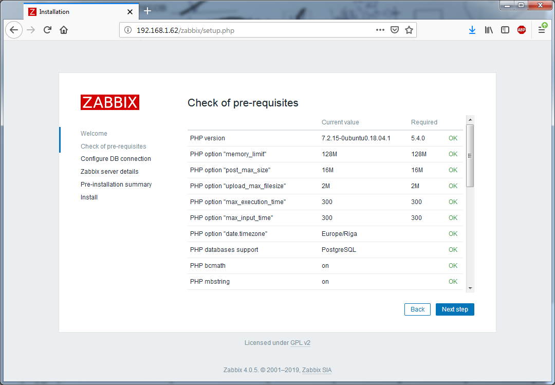 Установка Zappix 4.0 - Check of pre-requisites